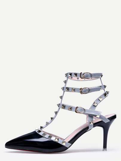 Black Pointed Toe Buckle Strap Studded Stiletto Heels