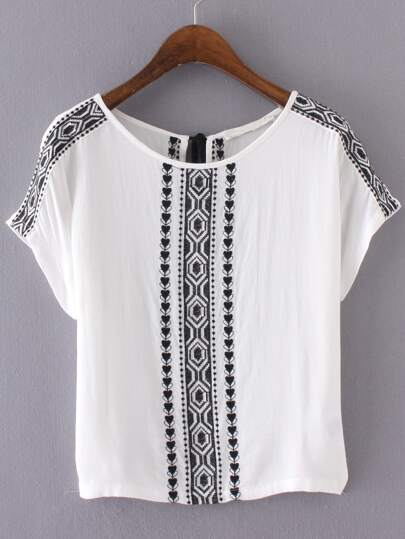White Embroidery Key-hole Tassel Back Blouse