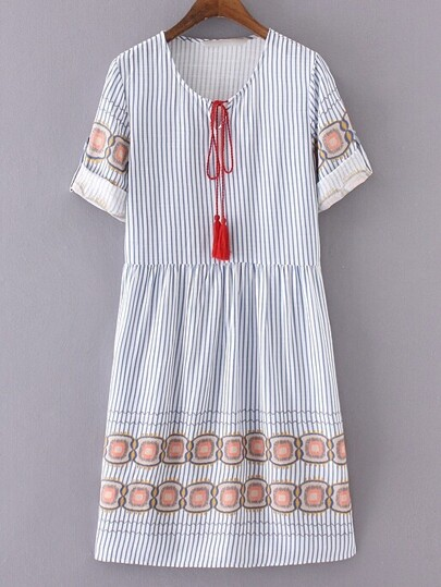 Blue And White Stripe Half Sleeve Tie Tassel Dress