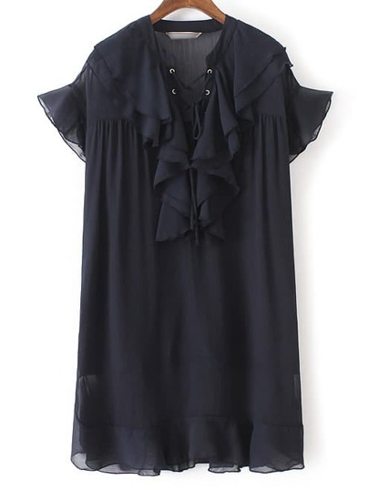 Navy Ruffle Lace Up Chiffon Dress