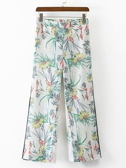 Multicolor Floral Elastic Waist Pocket Shift Pants