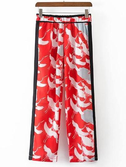 Red Crane Printed Elastic Waist Shift Pants