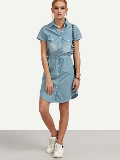 Blue Drawstring Denim Shirt Dress
