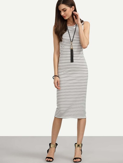 White Striped Sheath Tank Dress