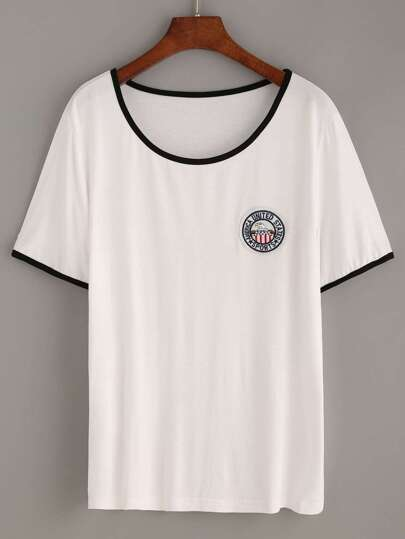 White Contrast Trim Embroidered Patch T-shirt