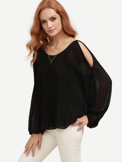 Lantern Sleeve Open Shoulder Pleated Blouse