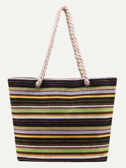 Multicolor Striped Print Canvas Shopper Bag