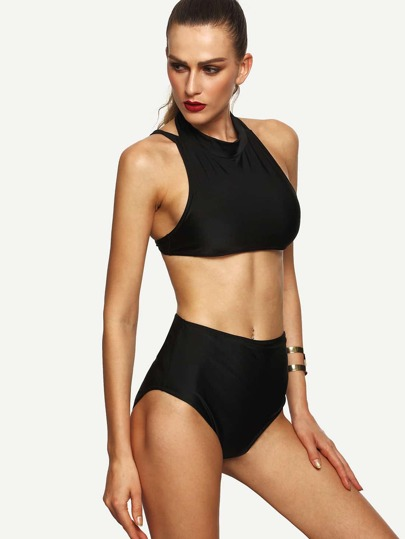 Black Strappy Racerback High Waist Bikini Set