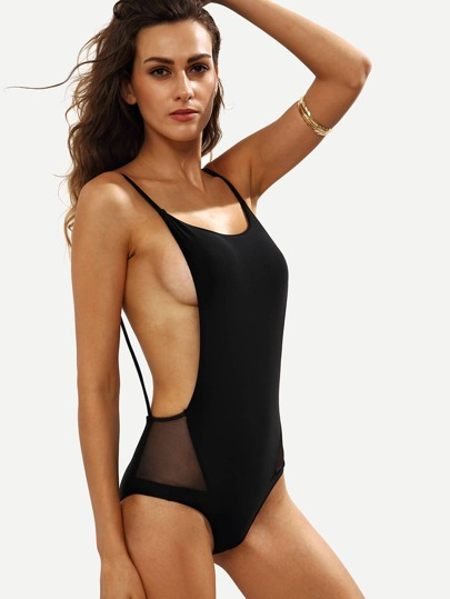 Black Mesh Insert Backless One-Piece Swimwear
