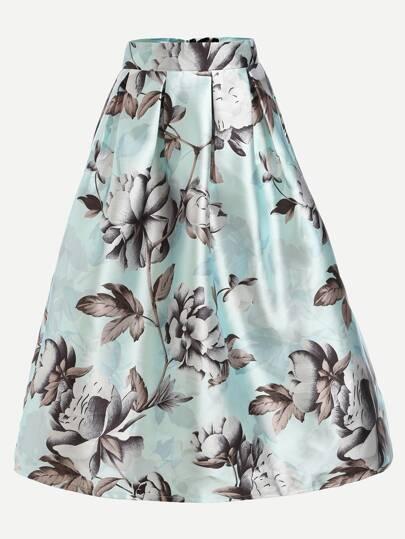 Mint Green Flower Print Box Pleated Skirt