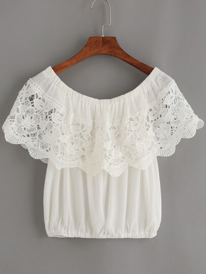 White Crochet Trim Off The Shoulder Top