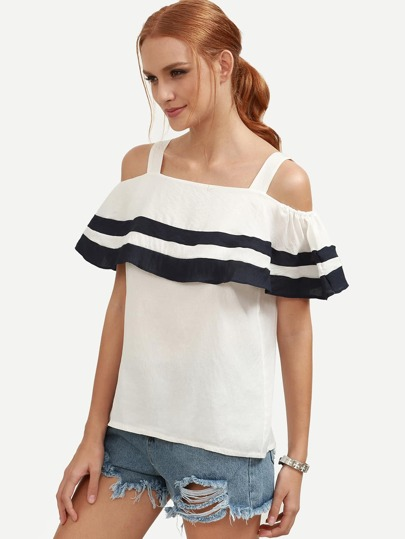 White Striped Ruffled Cold Shoulder Top