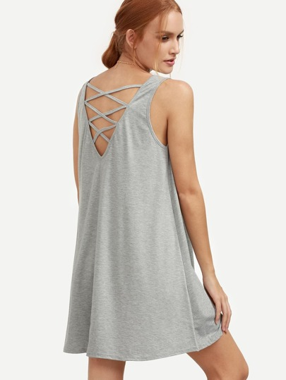 Grey Lattice Back Swing Tank Dress