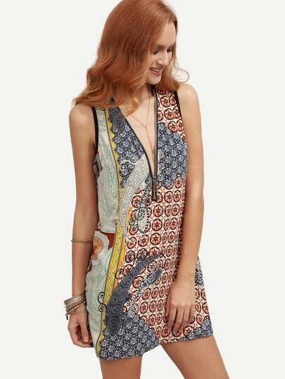 Multicolor Paisley Print Zip Front Shift Dress