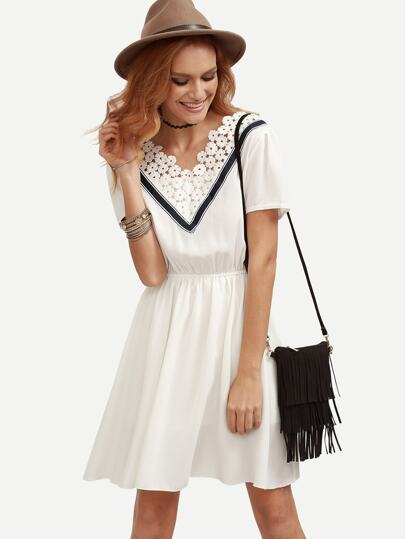 White Flower Lace Trimmed Double V Neck Dress