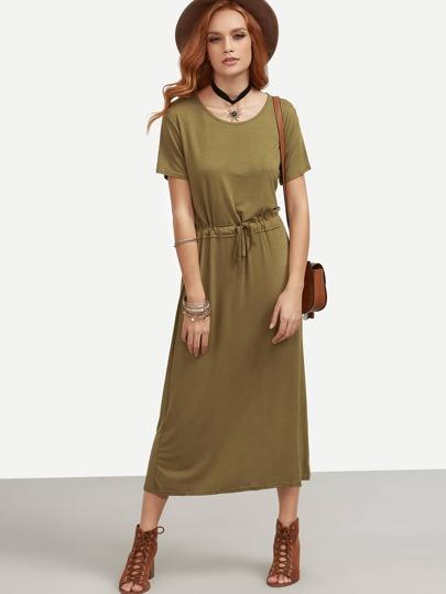 Olive Green Drawstring Waist Dress