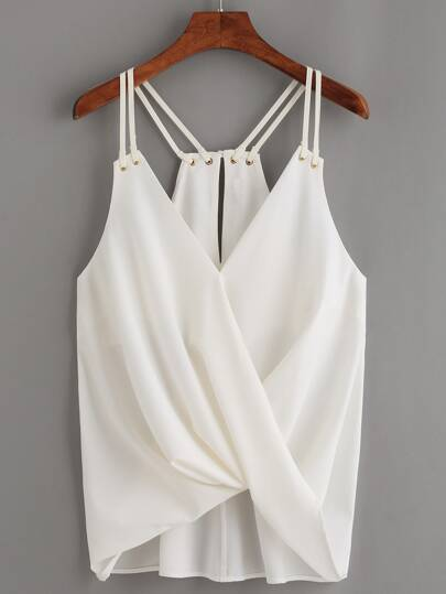 White Keyhole Racerback Draped Strappy Cami Top