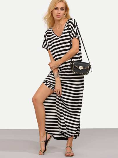 Stripe Curved Hem Long Length Dress