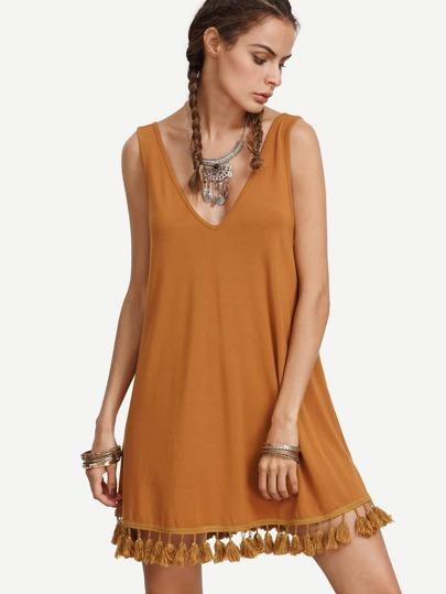 Vestido escote V flecos sin manga -marrón