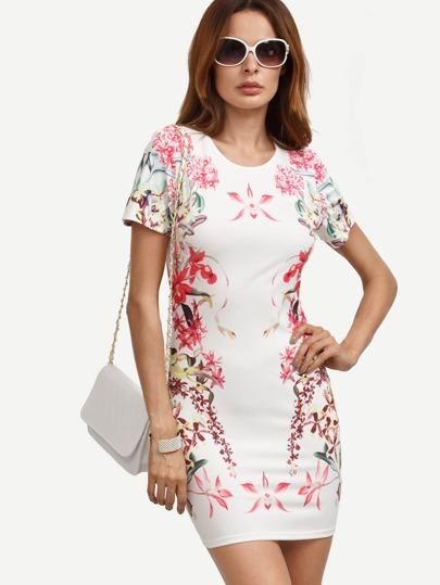 Multicolor Floral Short Sleeve Bodycon Dress