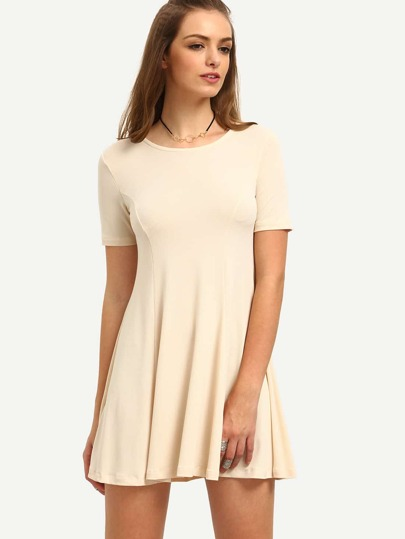 Apricot Short Sleeve Zipper Back Dress
