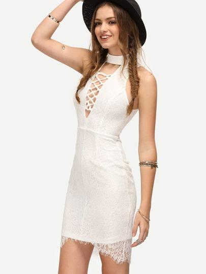 White Lattice-front Sleeveless Bodycon Dress