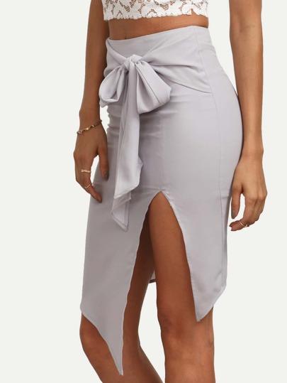 Grey Tie Waist Split Asymmetrical Skirt