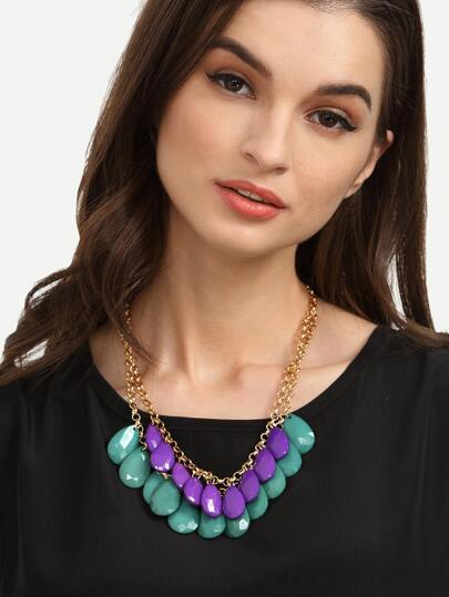 Dual-layer Gemstone Pendant Necklace