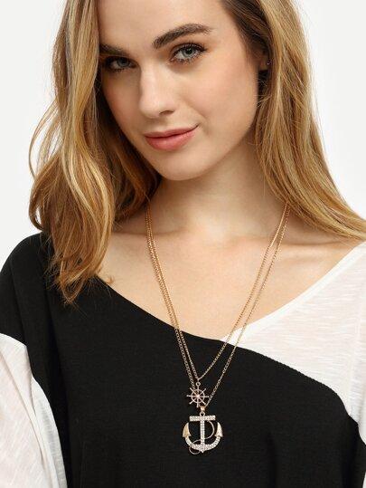 Golden Dual-layer Anchor Pendant Necklace