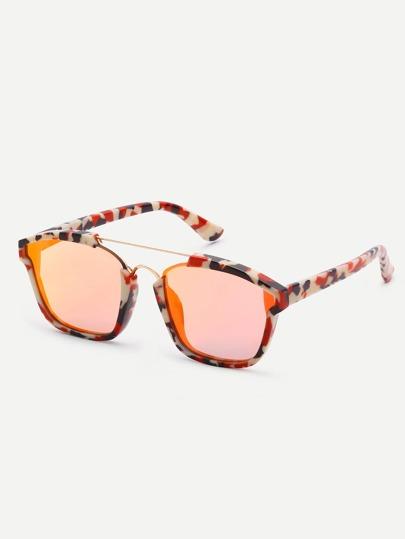bar SqMulticolor Frame Brow-uare Sunglasses