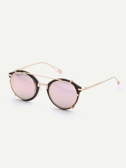 Black Vintage Demountable Aviator Sunglasses