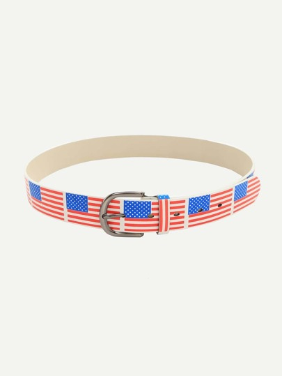 Multicolor Flag Print Buckle Belt