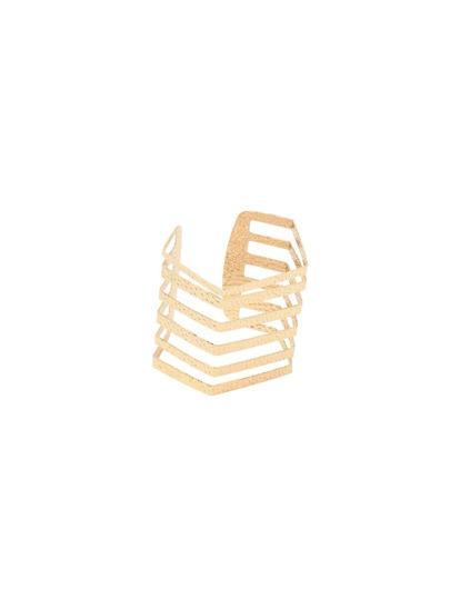 Golden Hollow Alloy Cuff Bracelet