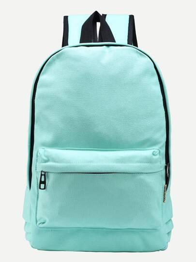 Mint Green Zip Closure Canvas Backpack