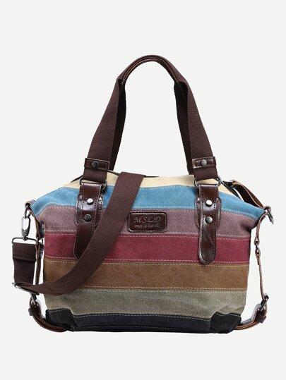 Color Block Canvas Shoulder Bag With Strap