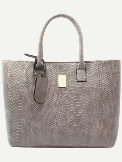 Grey Crocodile Embossed Faux Leather Shopper Bag