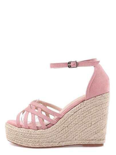 Sandales espadrilles multi-brides bout ouvert - rose