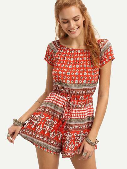Red Tribal Print Drawstring Waist Romper