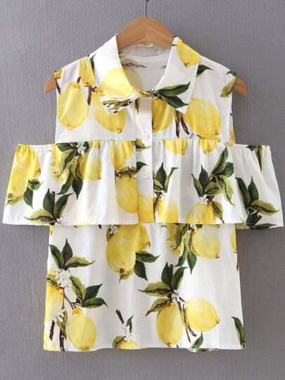 Yellow Cold Shoulder Lapel Lemon Printed Button Blouse