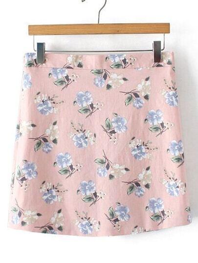Pink Floral Zipper Side Skirt