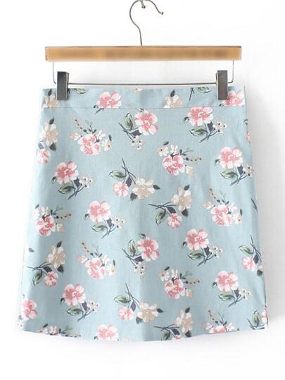 Blue Floral Zipper Side Skirt