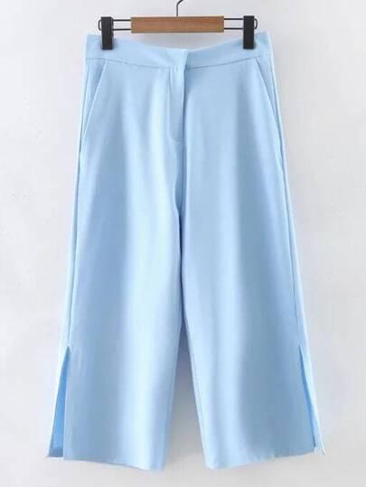 Blue Split Side Zipper Pockets Cropped Pants