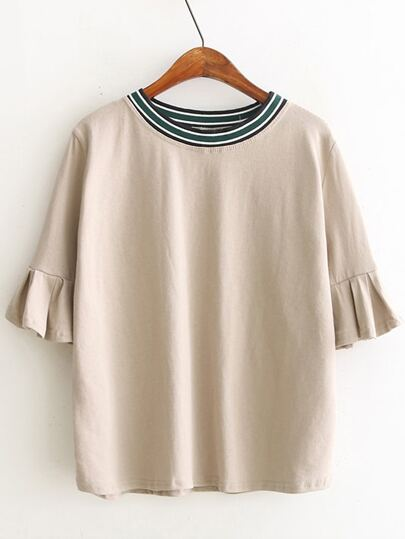 Camel Knit Neck Ruffle Sleeve T-shirt