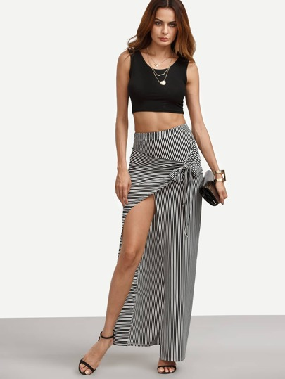 Vertical Stripe Tie-bow Front Wrap Skirt