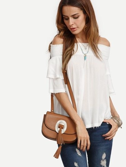 White Off The Shoulder Elasticated Blouse