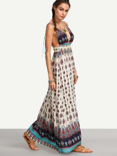Multicolor Print Spaghetti Strap V Neck Backless Dress