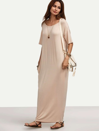 Apricot Pocket Dropped Shoulder Seam Maxi Dress