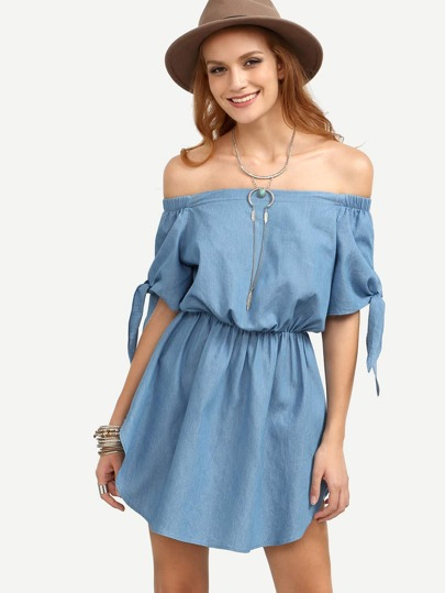 Blue Off The Shoulder Dolphin Hem Elasticated Dress