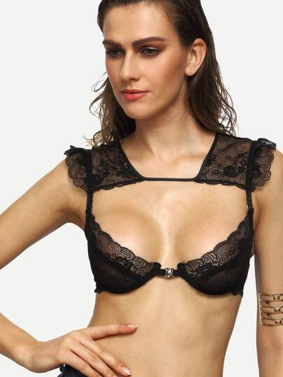 Black Tie Back Cutout Lace Bralet