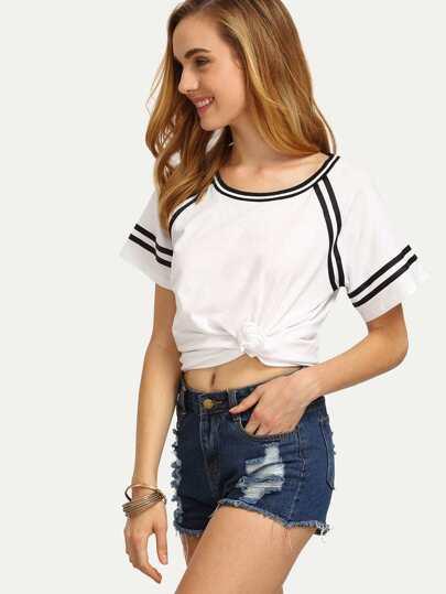 White Stripe Trimmed Short Sleeve T-shirt